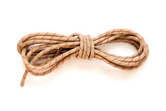 Static rope for mountaineering, isolated on white. Top view. Cli Royalty Free Stock Photography