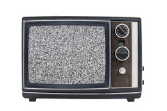 Static Screen Vintage Portable Television Stock Image