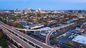 Static Shot Over Highways and Downtown City Skyline Wilmington Delaware. Aerial view Wilmington Delaware Downtown City Skyline bus station and highways royalty free stock images