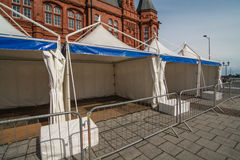 Static tents, ready for a Festival. A row of static display tents, in readiness for a public festival Royalty Free Stock Photos