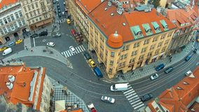 Static top view of the European city - Prague, a large intersection with a tram, 4k stock video footage