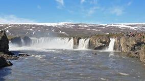 Static view on Godafoss Waterfall stock video