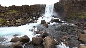Static view on Oxararfoss waterfall Stock Photo