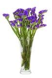 从statice花的布置焦点的花束在花瓶iso中 免版税库存照片