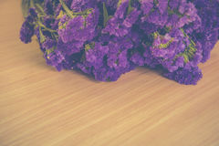Statice flowers on wooden,Vintage tone Stock Photography