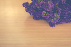 Statice flowers on wooden,Vintage tone Stock Image