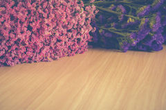 Statice flowers on wooden,Vintage tone Royalty Free Stock Photography