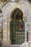 Statinon 4耶稣遇见他的母亲,玛丽 在十字架上钉死方式的驻地在罗卡马杜圣所的  法国 免版税库存照片