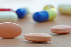 Statins or Generic Tablets  in Close Up Stock Photo