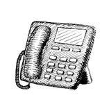 Stationär telefon med knappar Dragen illustration för tappning hand stock illustrationer