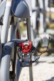 Stationäre spinnende Fahrradreihen Stockbild