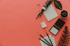 Stationärt begrepp, lekmanna- foto för lägenhet av sax, blyertspennor, papper på rosa bakgrund royaltyfri fotografi