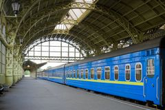 Station. Railway station with long-distance train royalty free stock image