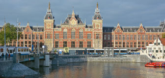 Station Amsterdam Centraal. AMSTERDAM NETHERLAND OCTOBER 03 2015 Station Amsterdam Centraal is the largest railway station of Amsterdam, Netherlands, and a major Royalty Free Stock Images