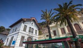 station av kabelbilen bergbana de tibidabo i den barcelona spaien Royaltyfria Foton