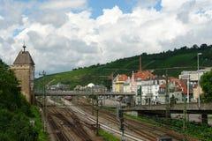 Station av staden Esslingen f.m. Neckar Royaltyfria Bilder