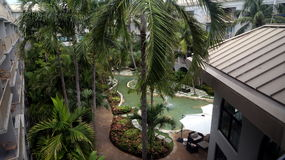 Station balnéaire de Marriott de caïman de Grand Cayman Island_Grand sur sept Miles Beach à Georgetown Photographie stock