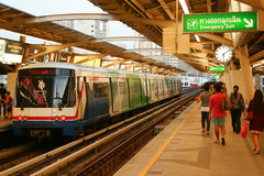 Station of Bangkok Mass Transit System. Open-air Skytrain Station. Bangkok, Thailand Stock Image