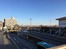Station, Busbahnhof einer Station in Japan lizenzfreies stockbild