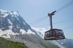 Station cable - 2317 m, on the route Chamonix to Aiguille du Midi Stock Photo