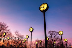 Station clocks at night Stock Photo