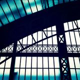Station construction metal framework. Windows day light royalty free stock photo