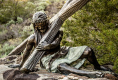 Station of the Cross Landmark Colorado. Historic landmark located in San Luis Colorado, near the New Mexico Border. Statue of Jesus Christ holding the cross as Royalty Free Stock Photos