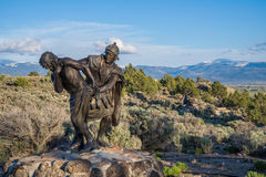 Station of the Cross Landmark Colorado. Historic landmark located in San Luis Colorado, near the New Mexico Border. Statue of Roman soldier beating Jesus Christ Royalty Free Stock Images