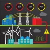 Station d'énergie éolienne Ensemble à la mode d'infographics Tous les types de centrales illustration stock