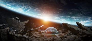 Station d'observatoire dans des éléments de rendu de l'espace 3D de cette image Image libre de droits