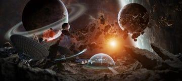 Station d'observatoire dans des éléments de rendu de l'espace 3D de cette image Images libres de droits