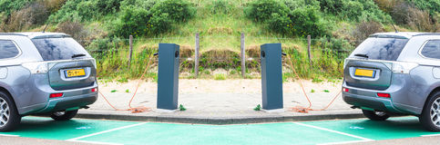 Station de charge d'Aku pour des véhicules électriques Images stock