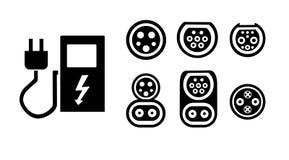 Station de charge d'un logo moderne de véhicule électrique, sur la rue, qui est l'avenir L'illustration de vecteur plat Image libre de droits