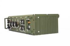 Station de communication militaire d'isolement sur le blanc Images stock