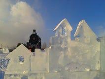 Station de glace dans la ville de la neige photo stock