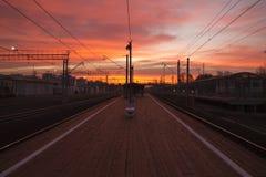 Station de Kuskovo à l'aube Photo stock