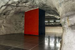 Station de métro d'Universitetet, Stockholm, Suède image libre de droits