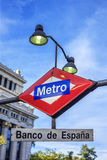 Station de métro de Banco de Espana Photos stock