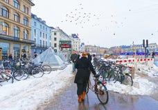 Station de métro de Kongens Nytorv à Copenhague en hiver Image libre de droits