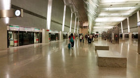 Station de MRT à l'aéroport Singapour de Changi Photos stock
