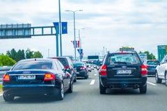 Station de péage de route à Zagreb, Croatie pendant la saison des vacances photographie stock libre de droits