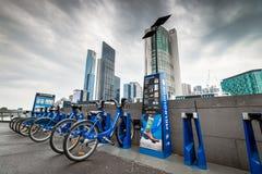 Station de part de vélo de Melbourne Photo stock
