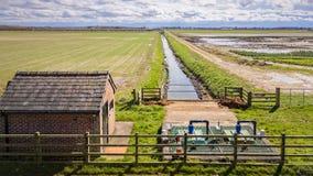 Station de pompage de drainage agricole Photo stock