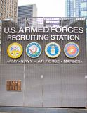 Station de recrutement de forces armées des USA sur le Times Square New York City photos libres de droits