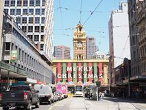 Station de rue de Flinders de décoration de Noël Photo libre de droits