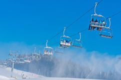 Station de sports d'hiver dans Bukovel, Ukraine Image libre de droits