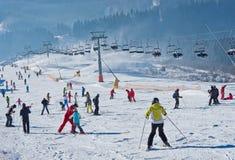 Station de sports d'hiver dans Bukovel, Ukraine Images stock