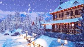 Station de sports d'hiver dans le village alpin la nuit neigeux 4K hiver illustration stock