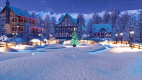 Station de sports d'hiver dans le village alpin la nuit Noël illustration de vecteur
