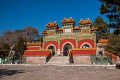Station de sports d'hiver de Chengde, Putuo, province de Hebei par le temple de la voûte en verre Photo libre de droits